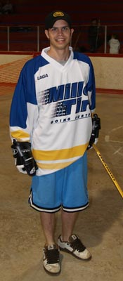 Ball hockey jersey being shown